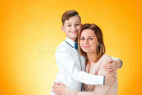 счастливым матери сын оранжевый женщины ребенка Сток-фото © master1305