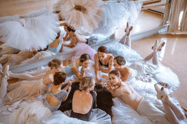 The seven ballerinas against ballet bar Stock photo © master1305