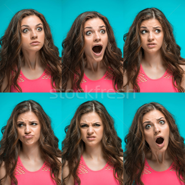 The young woman's portrait with different emotions Stock photo © master1305