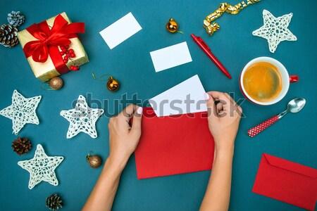 Stock fotó: Kezek · karácsony · díszítések · felső · kilátás · női