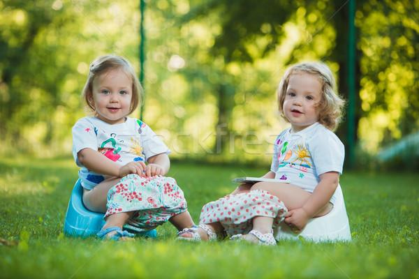 Kettő kicsi lánycsecsemők ül zöld fű öreg Stock fotó © master1305