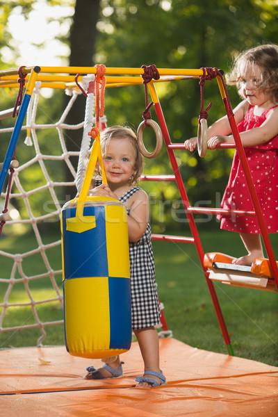 Kettő kicsi lánycsecsemők játszik szabadtér játszótér Stock fotó © master1305