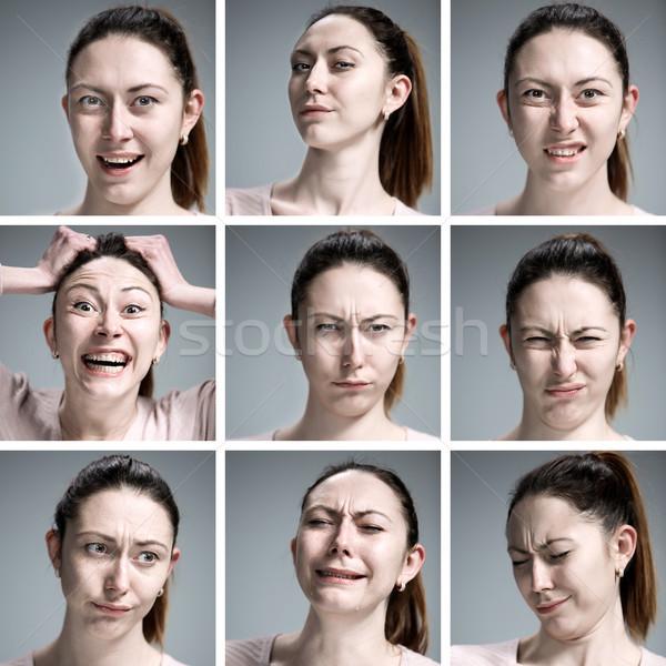 Foto stock: Establecer · jóvenes · retratos · diferente · emociones · gris