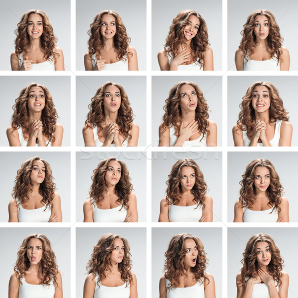 The collage from different woman emotions on gray background Stock photo © master1305