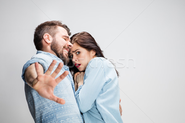 Emotional facial expression of woman an man Stock photo © master1305
