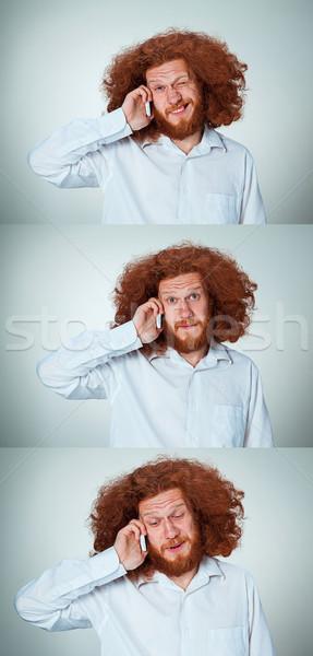 肖像 困惑して 男 話し 電話 グレー ストックフォト © master1305