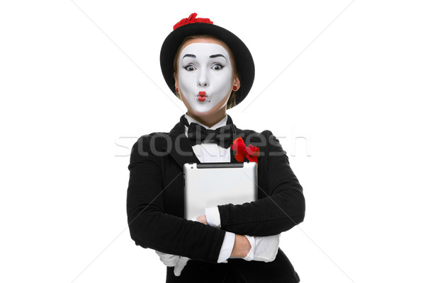 surprised mime isolated on white background Stock photo © master1305