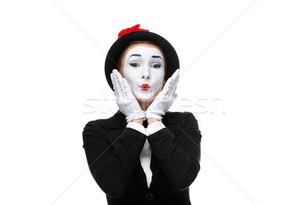 Portret verwonderd vrouw geïsoleerd witte handen Stockfoto © master1305