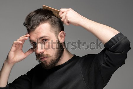 Genç tarak saç gri el moda Stok fotoğraf © master1305