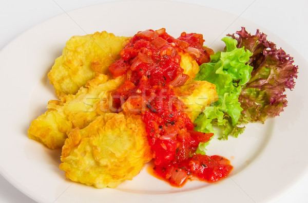 Sült leharcolt hal filé fehér tányér Stock fotó © master1305