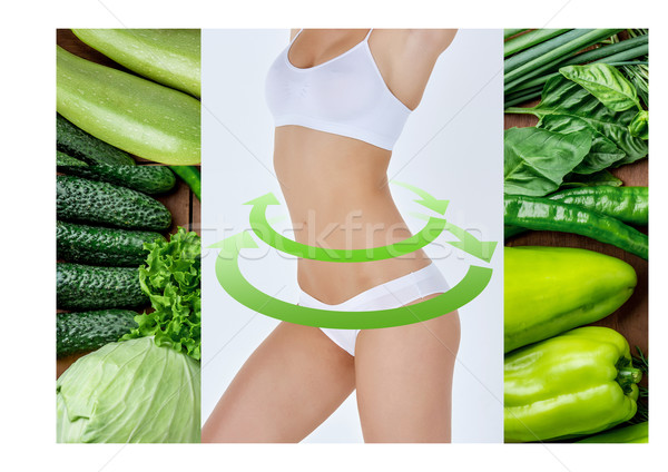 Young healthy woman with vegetables. Collage Stock photo © master1305