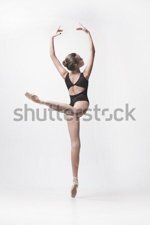 Jeunes belle danseur beige danse Photo stock © master1305