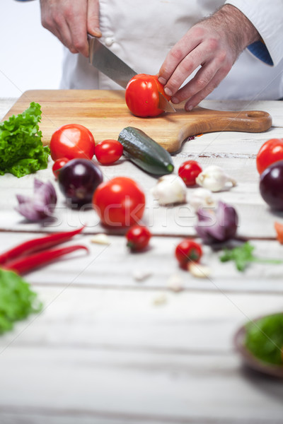 Stok fotoğraf: şef · kırmızı · domates · mutfak · eller