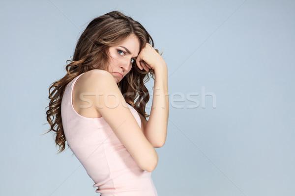 портрет красивой печально девушки серый Сток-фото © master1305