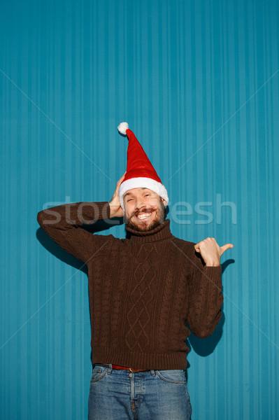 Сток-фото: улыбаясь · Рождества · человека · Hat