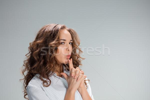 Portret gwałtowny portret kobiety kobieta szary dziewcząt Zdjęcia stock © master1305