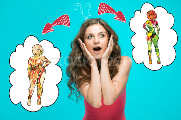 The collage about health, diet and food concept Stock photo © master1305