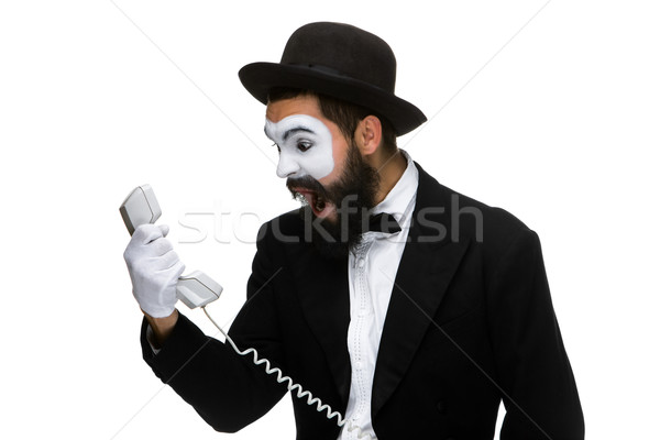 angry and irritated  man screams into the telephone receiver  Stock photo © master1305