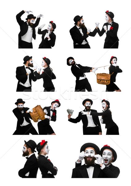 Two memes as business man and woman on white background Stock photo © master1305