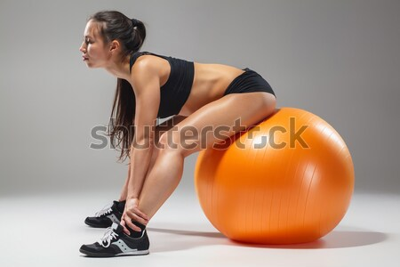 The young, beautiful, sports girl doing exercises on a fitball  Stock photo © master1305