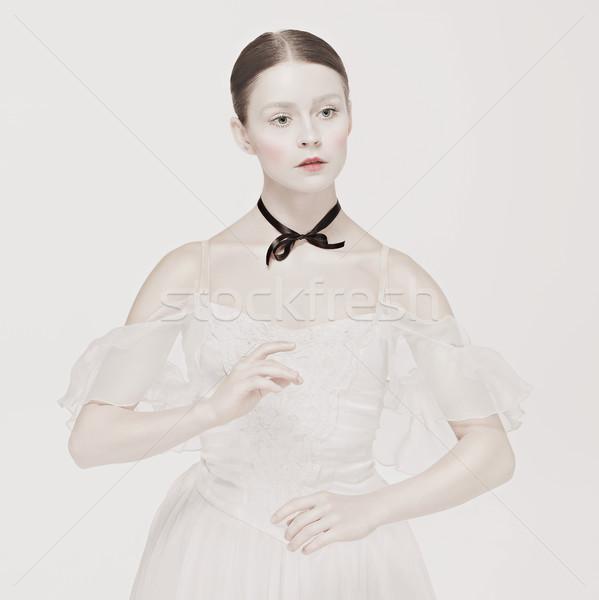 Romantikus szépség retró stílus portré nő lány Stock fotó © master1305