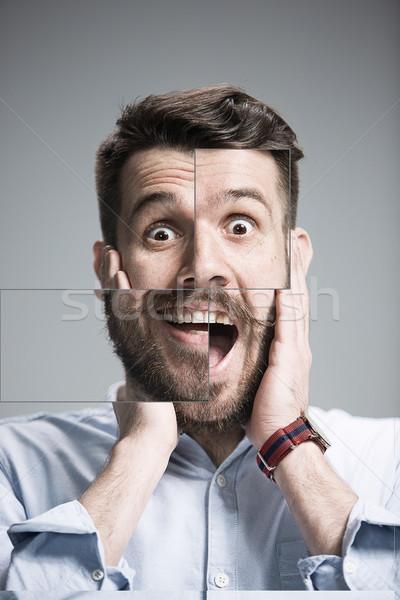Portret młody człowiek wyraz twarzy szary działalności Zdjęcia stock © master1305