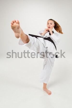 человека белый кимоно подготовки каратэ черный Сток-фото © master1305