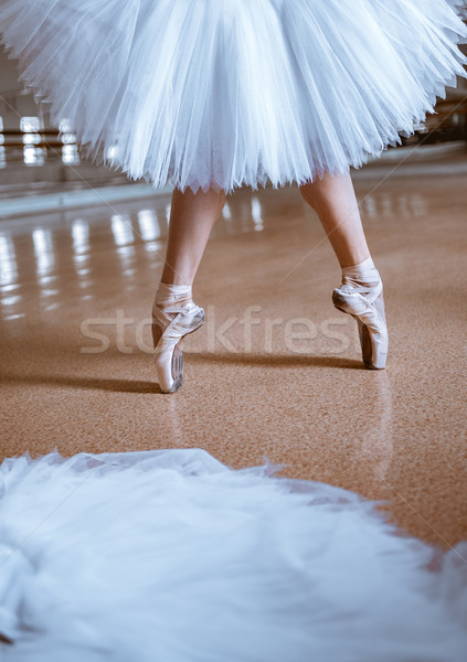 The close-up feet of young ballerina in pointe shoes Stock photo © master1305