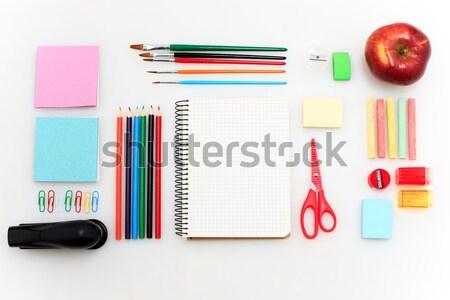 Escuela establecer cuadernos lápices cepillo tijeras Foto stock © master1305