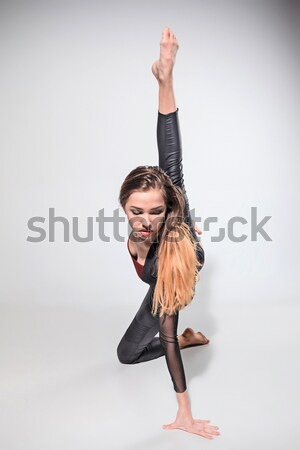 Tinédzser torna piros gimnasztikai labda szürke Stock fotó © master1305