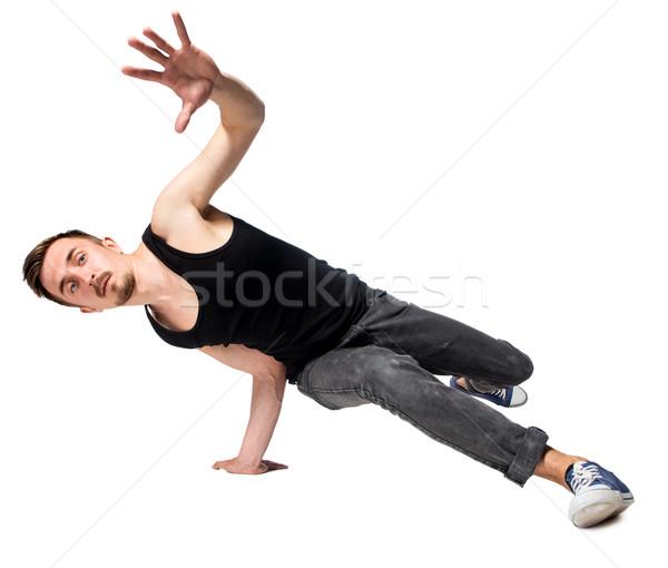 ストックフォト: ブレーク · ダンサー · 1 · 逆立ち · 白 · 男