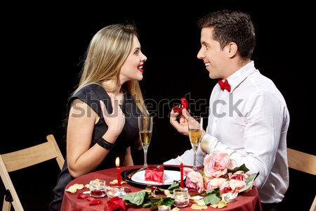 Man proposing marriage to a surprised woman Stock photo © master1305