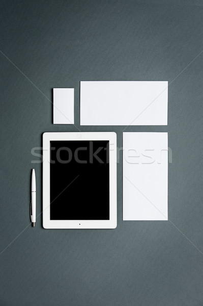 Business sjabloon kaarten papieren tablet Stockfoto © master1305