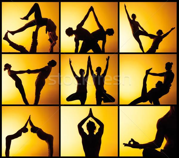 Kollázs képek két személy gyakorol jóga naplemente Stock fotó © master1305