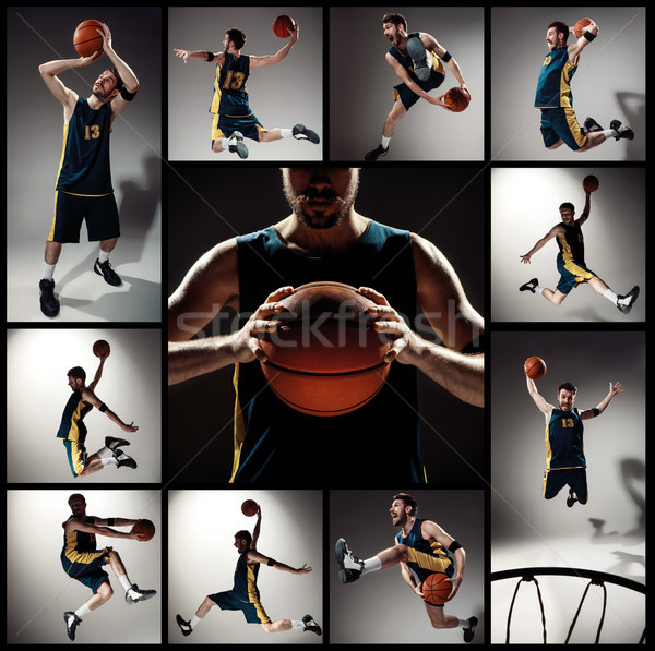 Collage of basketball photos - ball in hands and male player Stock photo © master1305