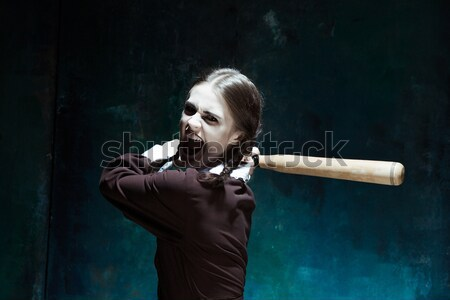 Porträt junge Mädchen Schuluniform Killer Frau Stock foto © master1305