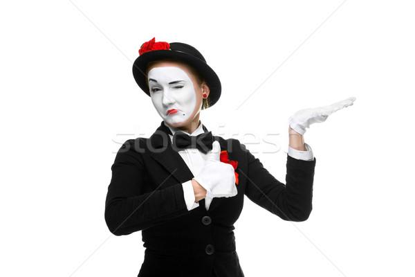 Portré nő mutat izolált fehér boldog Stock fotó © master1305