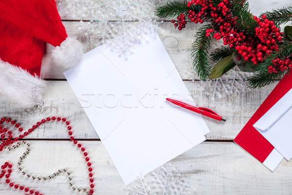 Vel papier houten tafel pen christmas decoraties Stockfoto © master1305