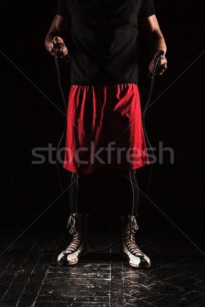 Gambe muscolare uomo corda formazione kickboxing Foto d'archivio © master1305
