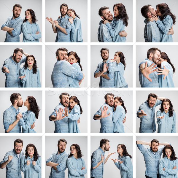 Stock photo: The collage from images of couple on gray background