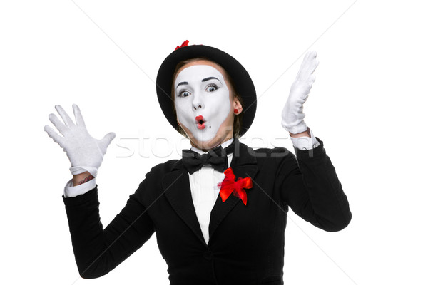 Portrait of the surprised and joyful mime with open mouth Stock photo © master1305