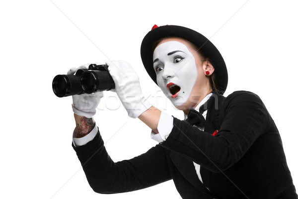 Portrait of the surprised and joyful mime with binoculars Stock photo © master1305