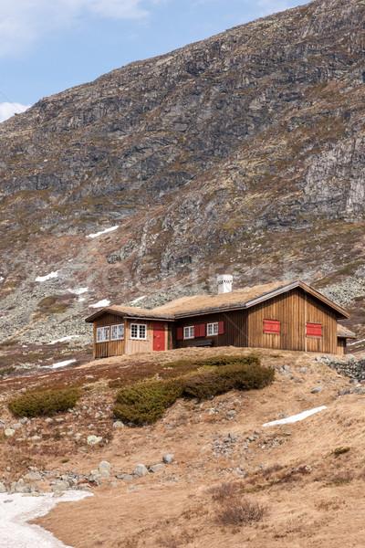 Pequeno casas Noruega montanha norueguês casa Foto stock © master1305