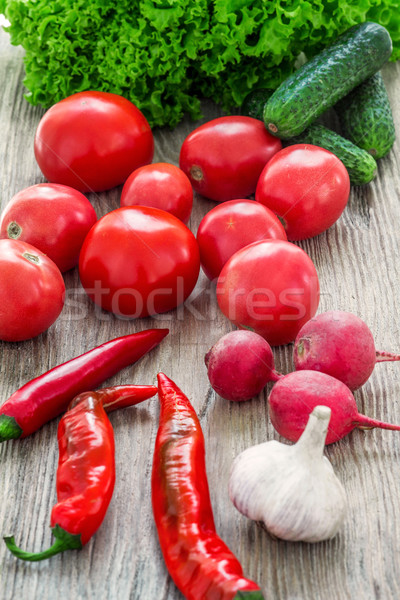 The multicolored vegetables on wooden table Stock photo © master1305