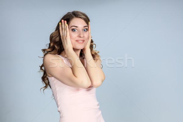 肖像 若い女性 表情 グレー ビジネス ストックフォト © master1305