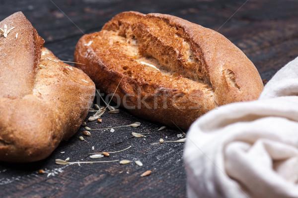 Rustiek brood houten tafel donkere humeurig gratis Stockfoto © master1305
