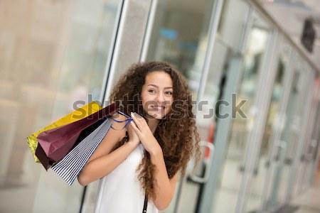 Jolie femme carte de crédit Mall Photo stock © master1305
