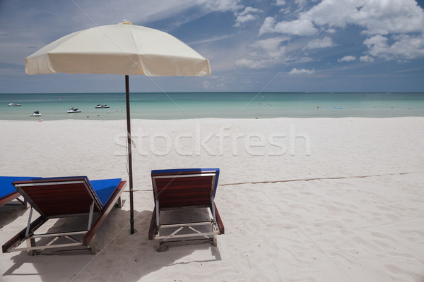 Plaj tropical island mavi su kum bulutlar Stok fotoğraf © master1305
