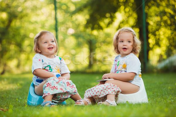 Kettő kicsi lánycsecsemők ül öreg zöld fű Stock fotó © master1305