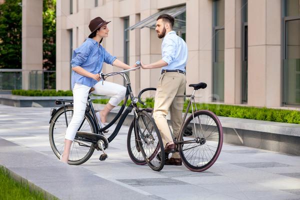 Romantik tarih bisikletler sokak kadın Stok fotoğraf © master1305